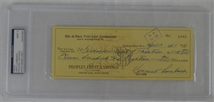 Vince Lombardi Signed Personal Check #1165 PSA/DNA 9 Mint