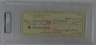 Vince Lombardi Signed Personal Check #5098 PSA/DNA 9 Mint
