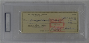 Vince Lombardi Signed Personal Check #1722 PSA/DNA 9 Mint