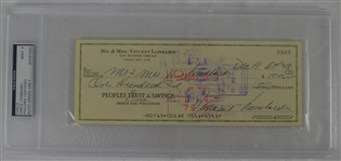 Vince Lombardi Signed Personal Check #3322 PSA/DNA 9 Mint