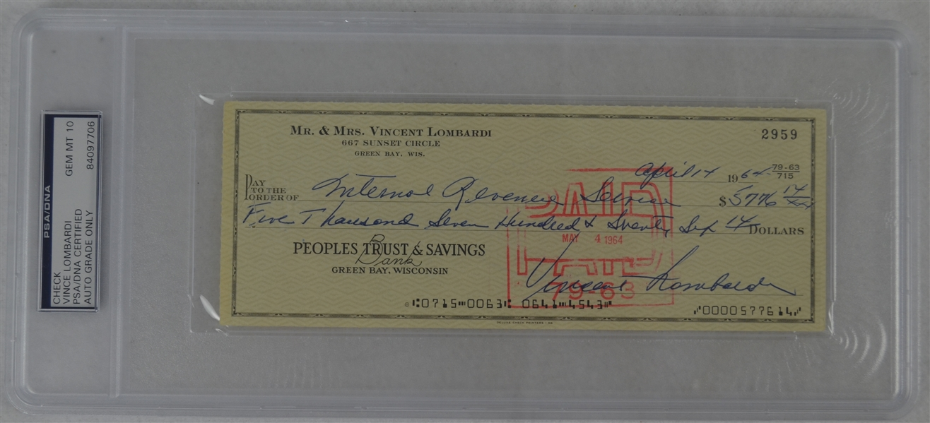 Vince Lombardi Signed Personal Check #2959 PSA/DNA 10 Gem Mint