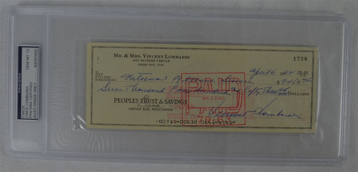 Vince Lombardi Signed Personal Check #1728 PSA/DNA 10 Gem Mint
