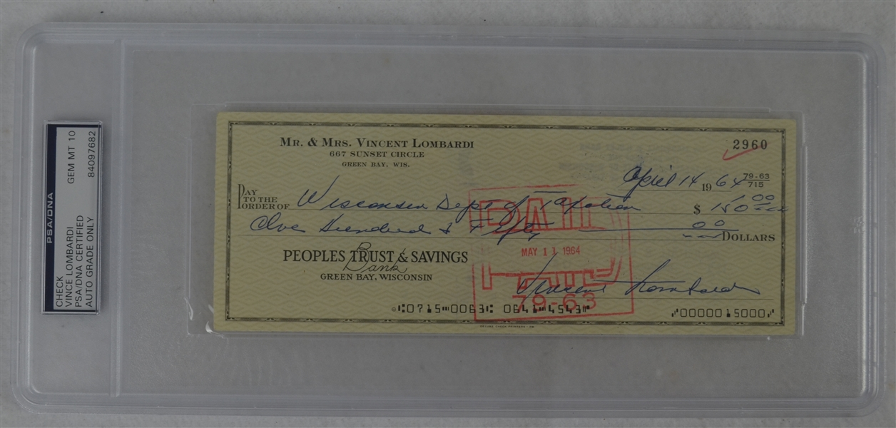Vince Lombardi Signed Personal Check #2960 PSA/DNA 10 Gem Mint