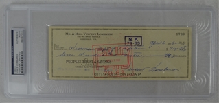 Vince Lombardi Signed Personal Check #1730 PSA/DNA Authentic