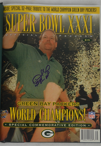 Green Bay Packers vs New England Patriots 1997 Super Bowl Program Signed by Desmond Howard