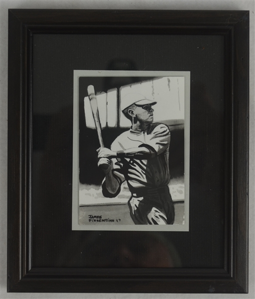 Babe Ruth Baseball Card Size Framed Original James Fiorentino Watercolor Painting