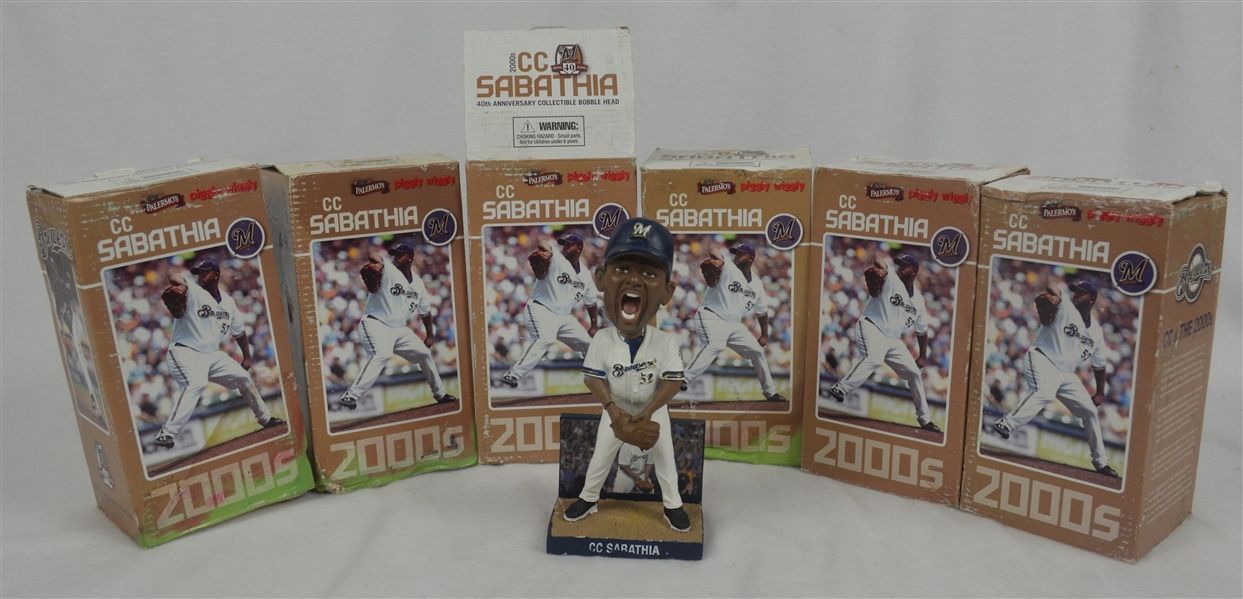 CC Sabathia Milwaukee Brewers Lot of 6 Palemro's Piggly Wiggly Figurines