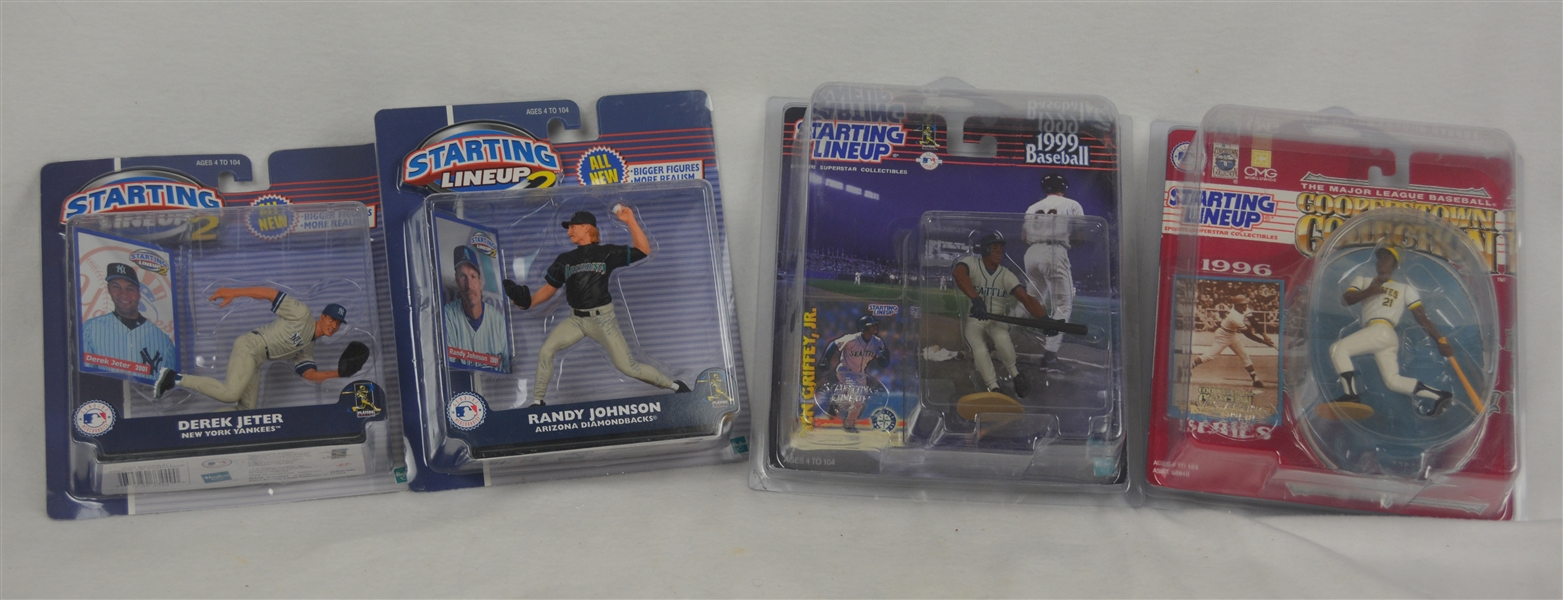MLB Collection of 4 Starting Line-Ups w/Derek Jeter & Roberto Clemente