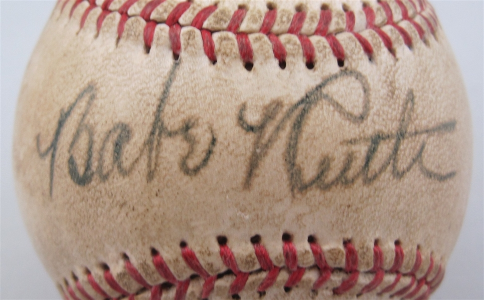 Babe Ruth Single Signed Baseball w/Bold Sweet Spot Signature PSA/DNA