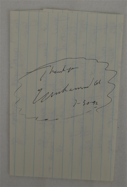 Muhammad Ali Autographed & Dated 7-30-92 Cut JSA LOA