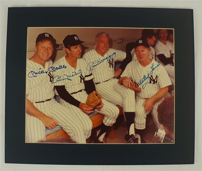 Mickey Mantle Billy Martin Joe DiMaggio & Whitey Ford Autographed Matted Photo JSA LOA
