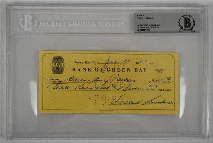 Vince Lombardi Signed 1961 Personal Check BGS Authentic From 1st NFL Championship Season *Made Out to the Green Bay Packers*