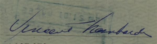 Vince Lombardi Signed 1961 Personal Check #101 BGS Authentic From 1st NFL Championship Season *Twice Signed Lombardi*