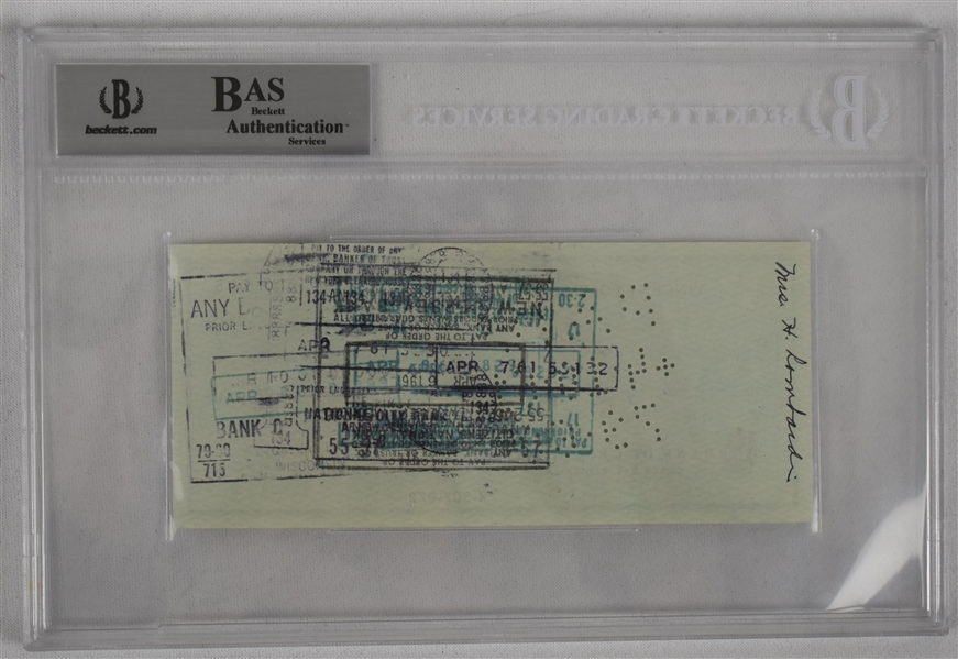 Vince Lombardi Signed 1961 Personal Check #105 BGS Authentic From 1st NFL Championship Season *Twice Signed Lombardi*