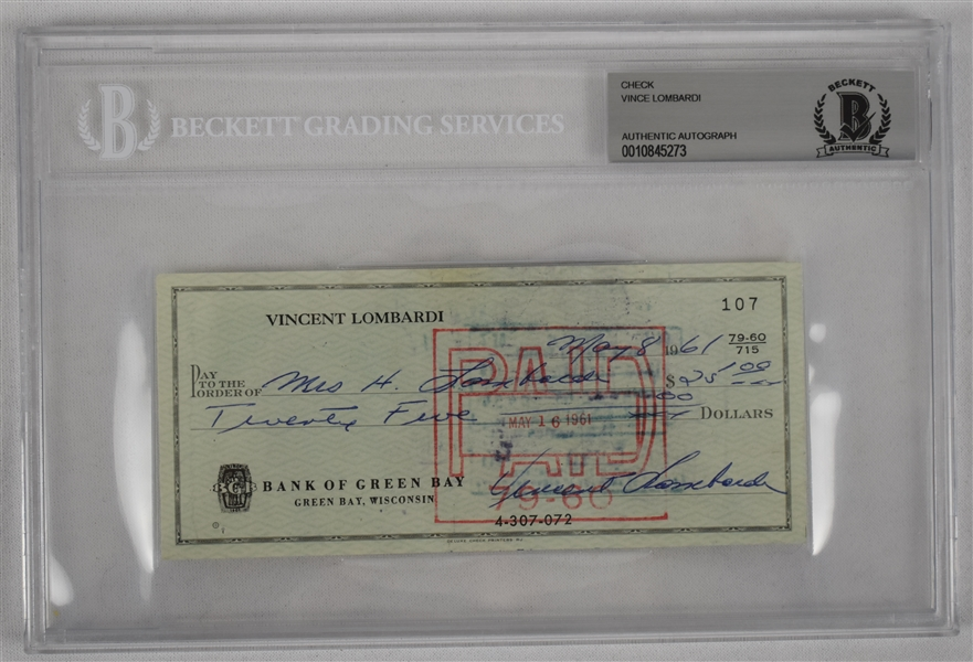 Vince Lombardi Signed 1961 Personal Check #107 BGS Authentic From 1st NFL Championship Season *Twice Signed Lombardi*
