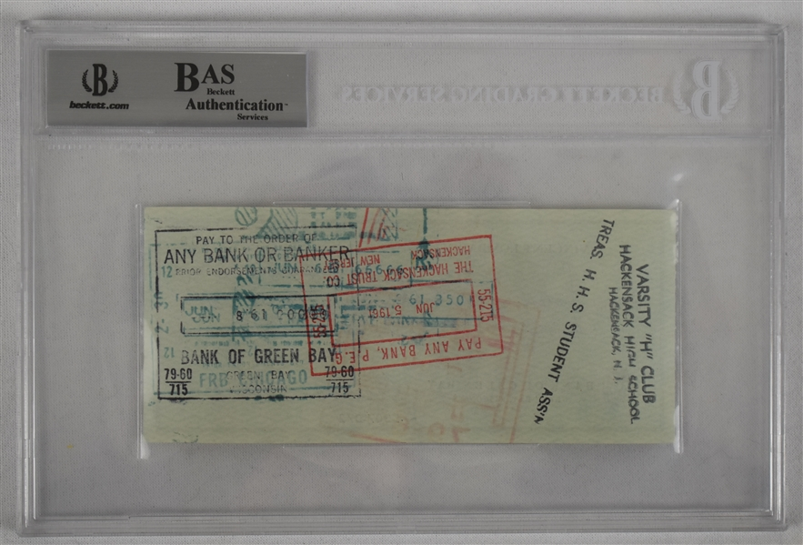 Vince Lombardi Signed 1961 Personal Check #108 BGS Authentic From 1st NFL Championship Season