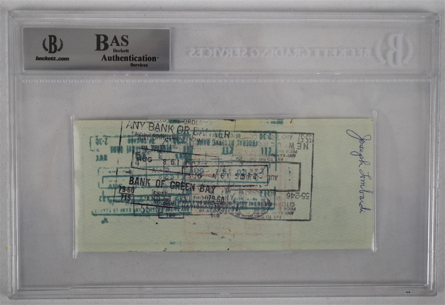Vince Lombardi Signed 1961 Personal Check #116 BGS Authentic From 1st NFL Championship Season *Twice Signed Lombardi*