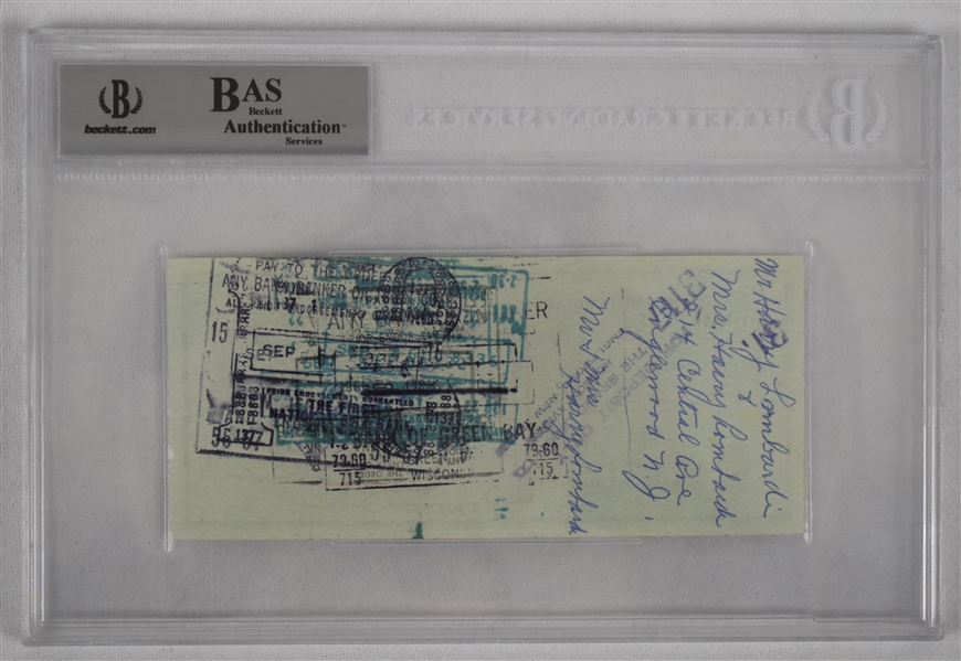 Vince Lombardi Signed 1961 Personal Check #117 BGS Authentic From 1st NFL Championship Season *Twice Signed Lombardi*