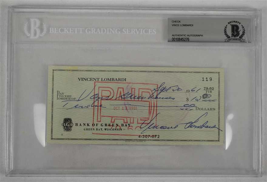 Vince Lombardi Signed 1961 Personal Check #119 BGS Authentic From 1st NFL Championship Season