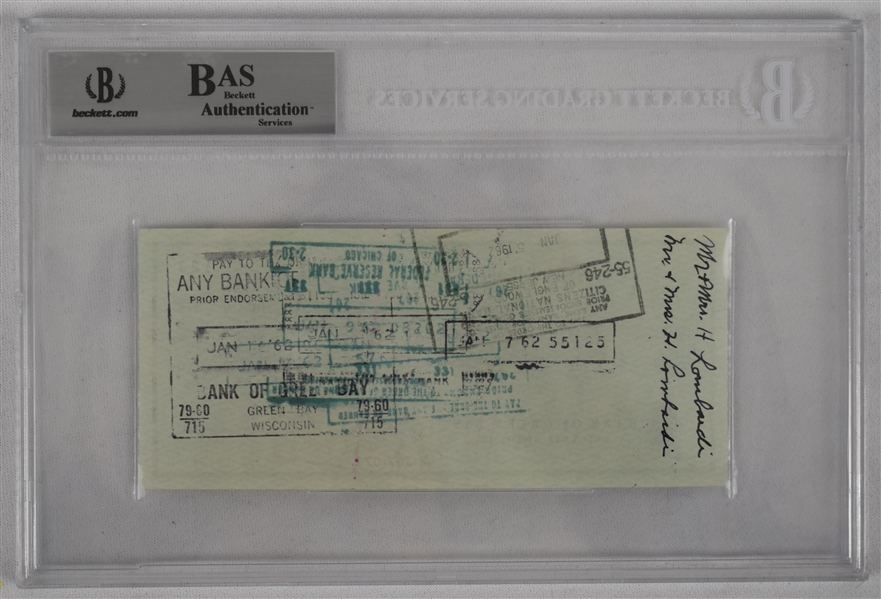 Vince Lombardi Signed 1961 Personal Check #123 BGS Authentic From 1st NFL Championship Season *Twice Signed Lombardi*