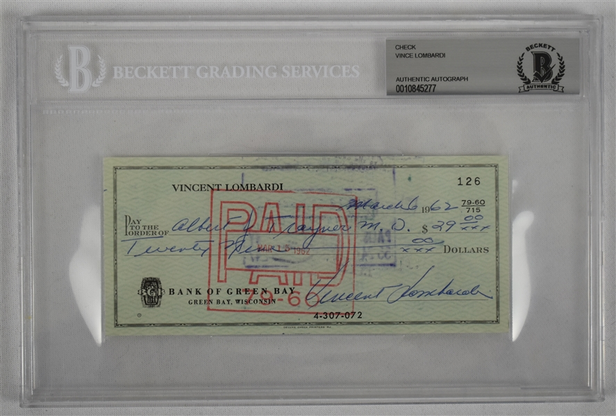 Vince Lombardi Signed 1962 Personal Check #126 BGS Authentic From 2nd NFL Championship Season