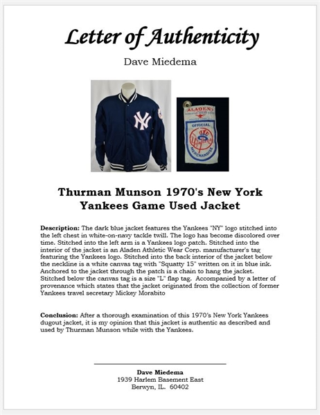 Thurman Munson 1970's New York Yankees Game Used Jacket w/Provenance & Dave Miedema LOA