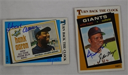Hank Aaron & Willie Mays Autographed TBC Baseball Cards