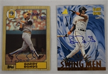Barry Bonds Lot of 2 Autographed Baseball Cards w/1987 Rookie