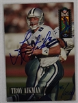 Troy Aikman Dallas Cowboys Autographed Football Card