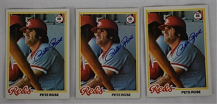 Pete Rose Lot of 3 Autographed Baseball Cards