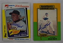 Willie Mays Lot of 2 Autographed Baseball Cards
