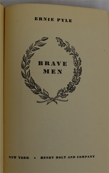 Brave Men 1944 First Edition Hard Cover Book by Ernie Pyle