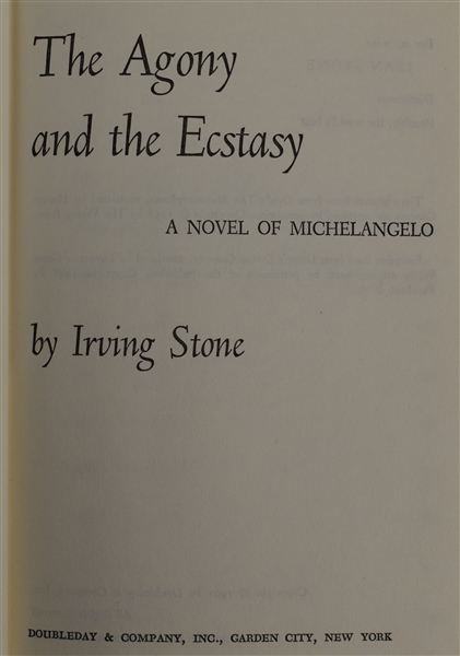 The Agony and the Ecstasy 1961 First Edition Hard Cover Book by Irving Stone