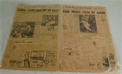 Hank Aaron HR #714 & #715 Newspaper