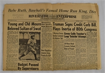 Babe Ruth Passes Away Newspaper