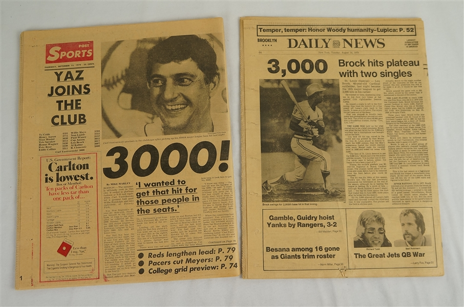Carl Yastrzemski & Rod Carew 3.000th Hit Newspapaers
