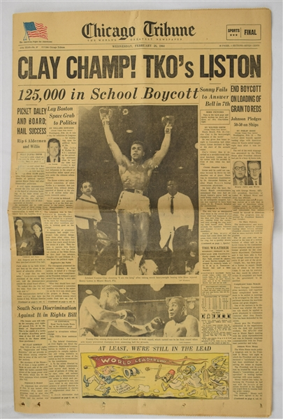 Cassius Clay (Muhammad Ali) Wins Title Over Liston Newspaper