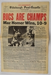 Pirates Win World Series on Bill Mazeroskis HR Newspaper