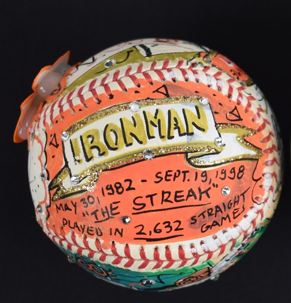 Cal Ripken Jr. One-Of-A-Kind Charles Fazzino Hand Painted Autographed Baseball