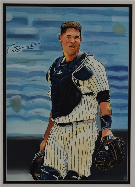 Gary Sanchez Signed Original James Fiorentino Watercolor Painting Steiner Authentication