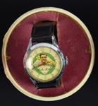 Babe Ruth Vintage Wrist Watch in Original Plastic Baseball Case In Working Condition
