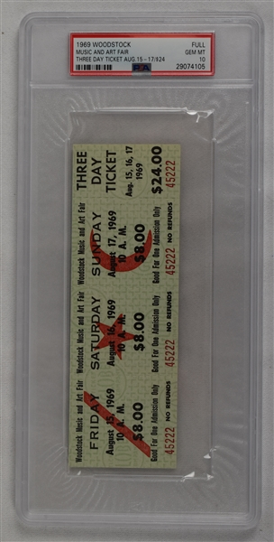 1969 Woodstock Full Ticket Three Day Ticket Music And Art Fair PSA 10 GEM