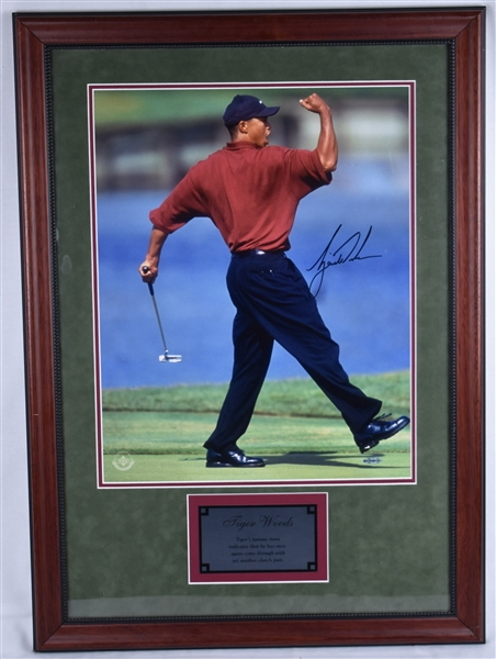 Tiger Woods Autographed 16x20 Framed Fist Pump Photo UDA