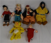 Vintage Lot of 6 Popeye 1985 King Features Dolls