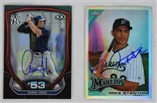 Aaron Judge & Giancarlo Stanton Autographed Rookie Cards