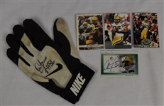 Antonio Freeman Game Used Autographed Glove & Cards