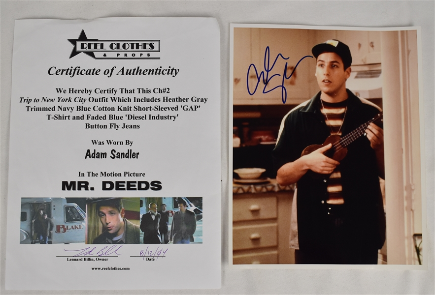 Adam Sandler Mr. Deeds Worn Shirt & Autographed 8x10 Photo
