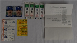 Jack Morris Ticket Stubs & Signed Cards