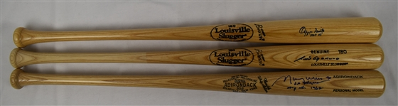 Ozzie Smith Luis Aparicio & Maury Wills Lot of 3 Autographed Bats
