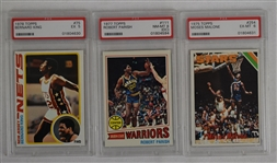Collection 3 PSA Graded Rookie Basketball Cards w/Moses Malone